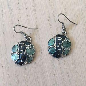 Blue and light green earrings